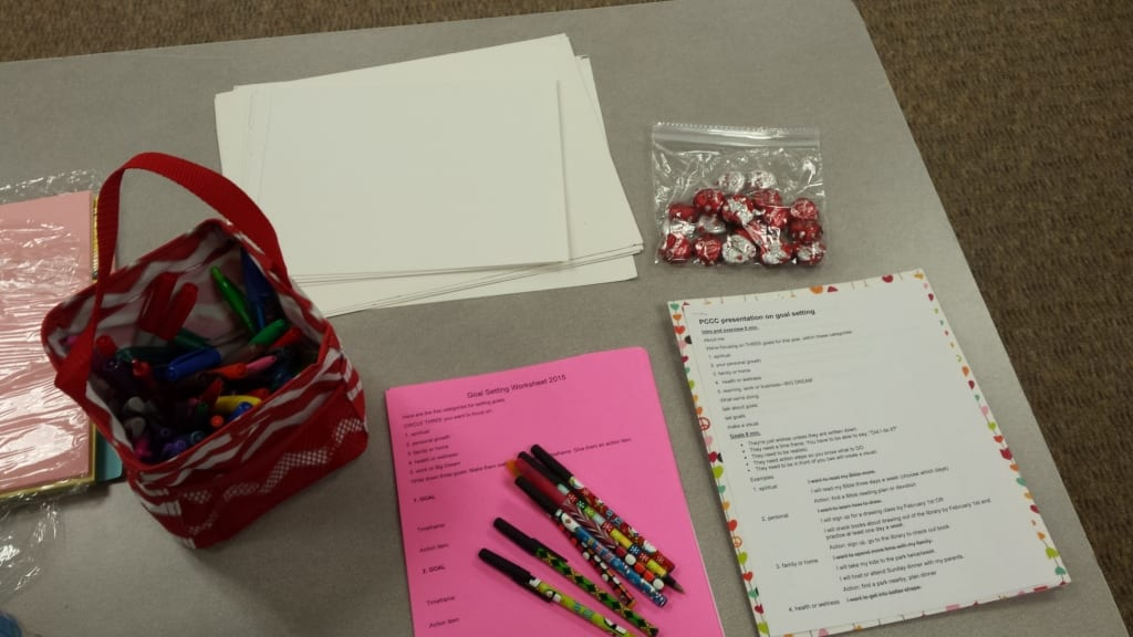 Goal setting workshop at the Pregnancy Care Center of Chandler