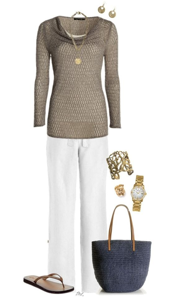 Update your summer look! White with sandy beige. tabithadumas.com