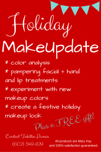 Holiday MakeUpdate with facial, color analysis and new holiday look. tabithadumas.com