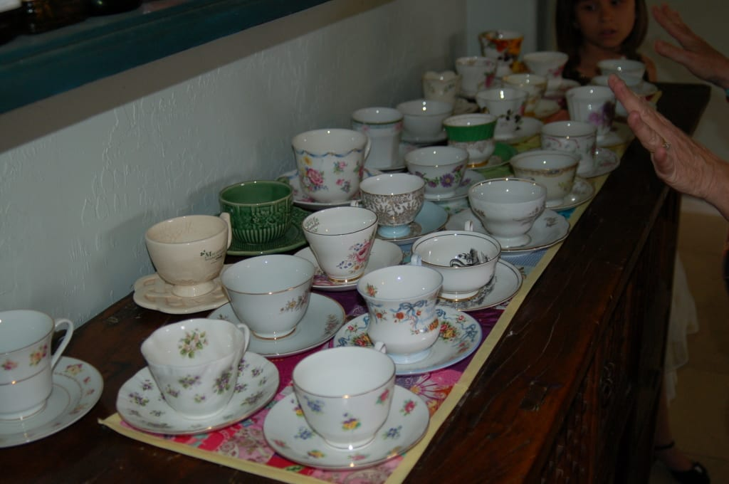 My tea cup collection. My Signature Event, the potluck tea party! on Tabithadumas.com