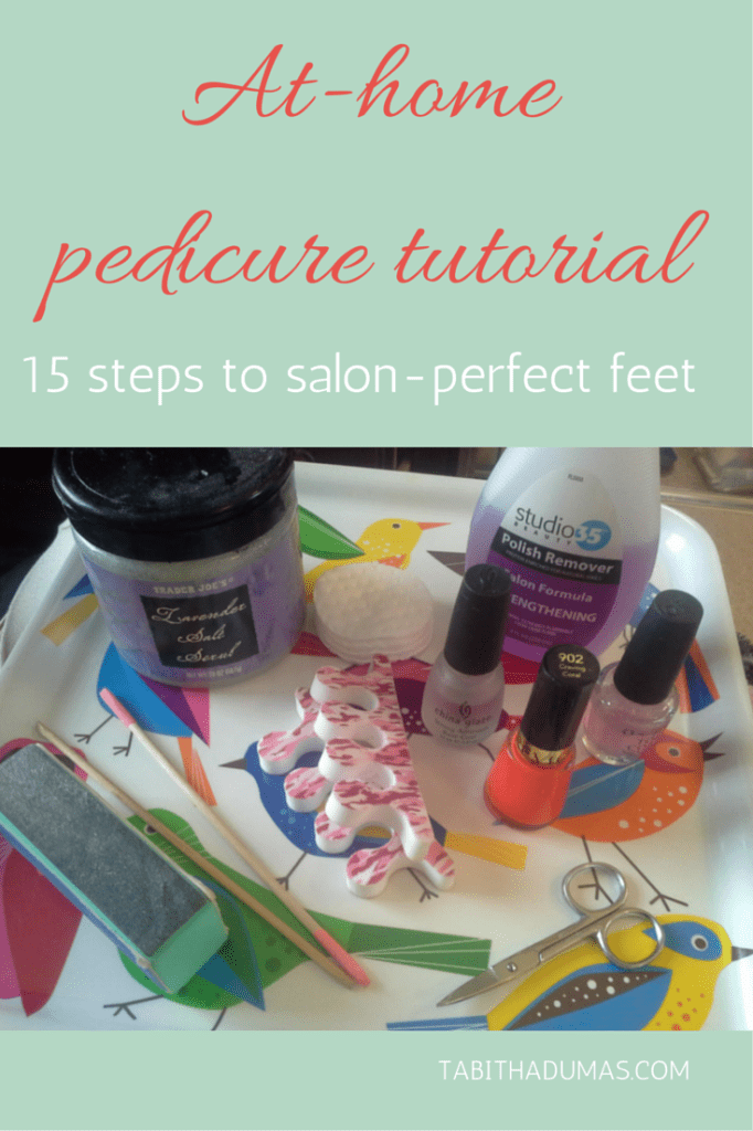 15 steps to salon-perfect toes. Save money by doing pedicures at home. She tells you all the tools you need, too! At-home pedicure tutorial