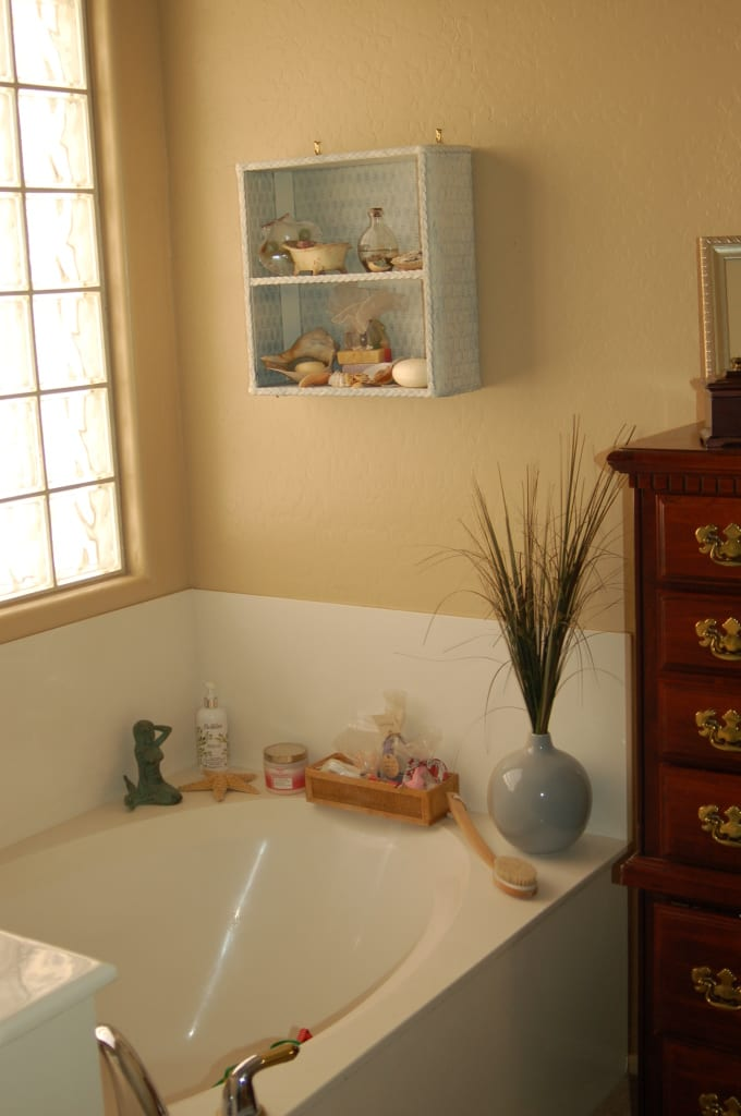 My garden tub, decked out and ready for me to take a relaxing bath. Is your home your haven?