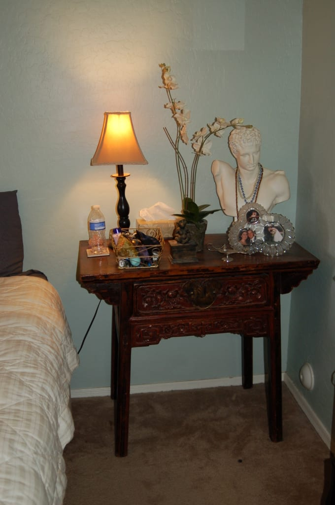 Make your home your haven! My nightstand, both beautiful and practical, with all my necessities at hand.