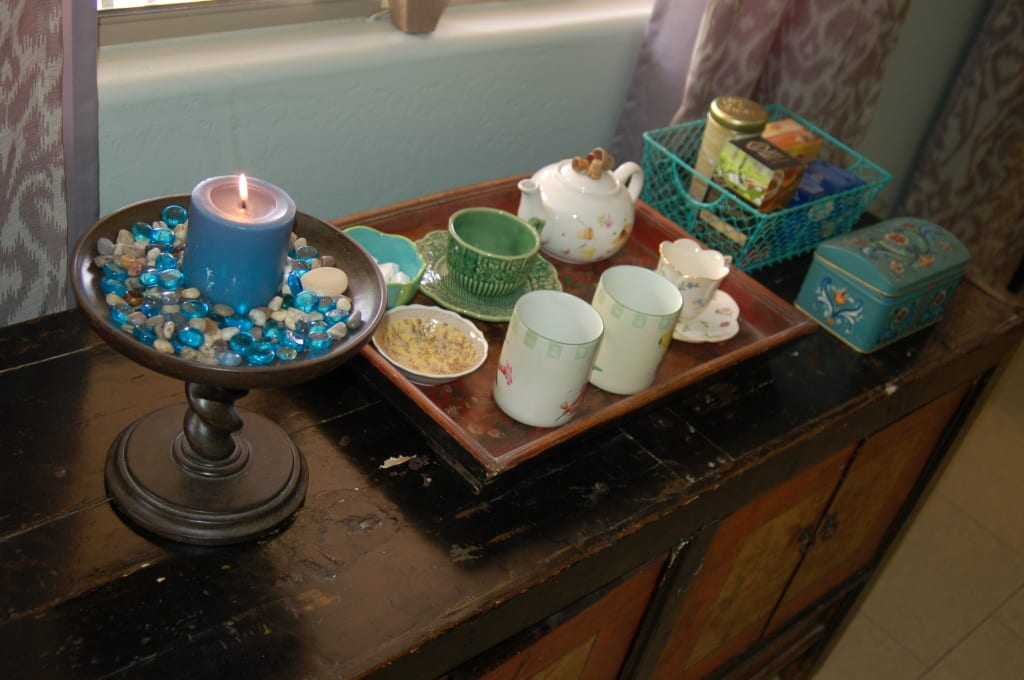 Make your home your haven by adding personal touches. I love tea so I always have a tea station for guest guests drop by.