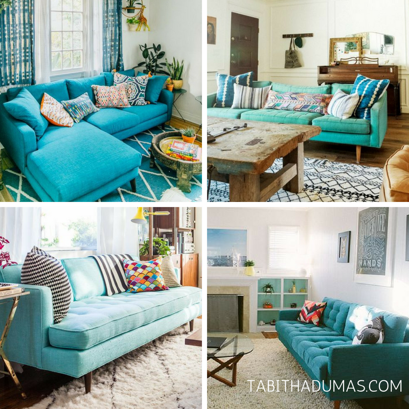 Why turquoise is my Signature Color. Turquoise couch! Tabitha Dumas Signature Color Style Phoenix Image Consultant
