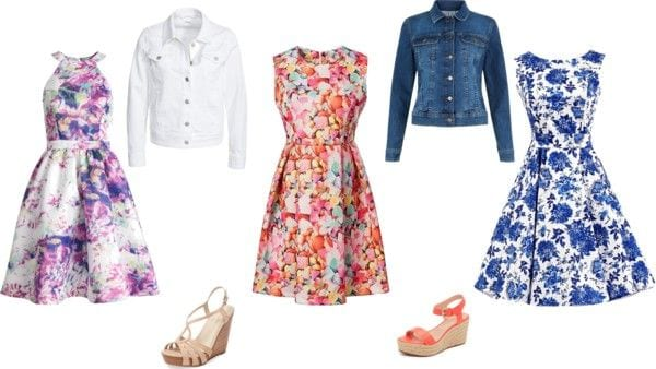 Easter outfits already in your closet. Floral dress and a denim jacket. Tabitha Dumas phoenix image consultant