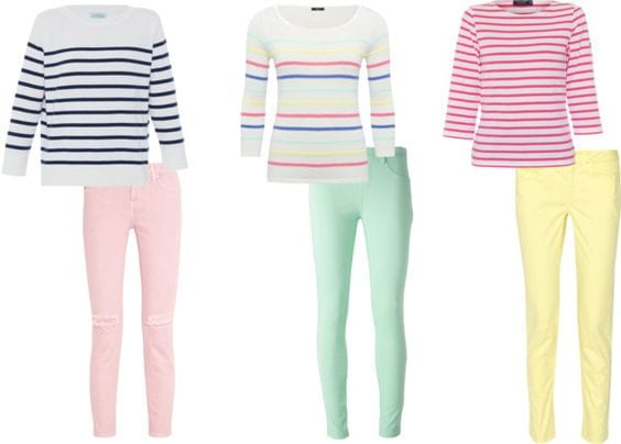 Easter outfits already in your closet. Pastel jeans and a striped top. Tabitha Dumas phoenix image consultant