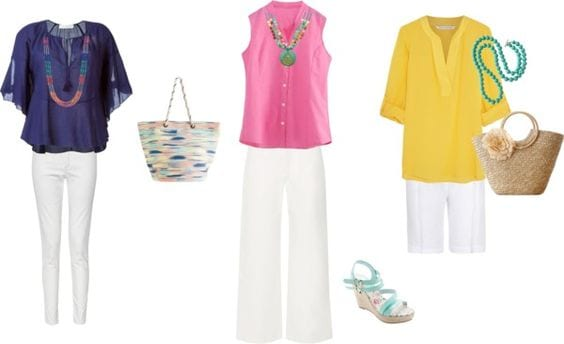 Easter outfits already in your closet. White jeans, colorful blouse, statement necklace. Tabitha Dumas phoenix image consultant