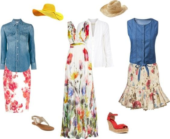 Easter outfits already in your closet. Floral skirt and denim blouse. Tabitha Dumas phoenix image consultant