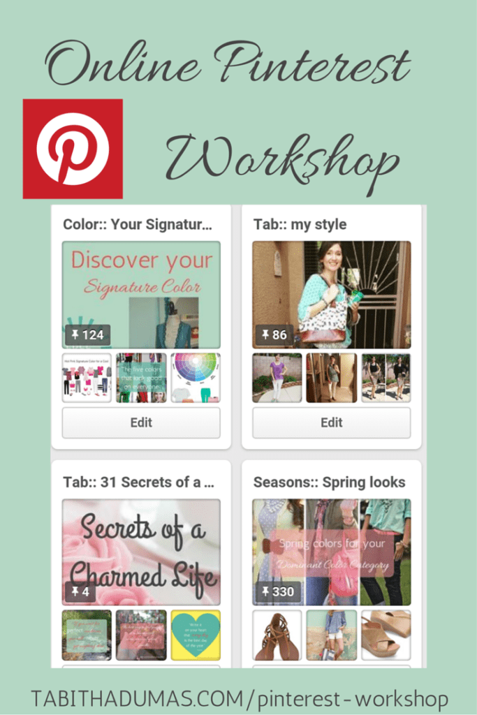 Online Pinterest Workshop for just $20. How-to video and worksheet, content strategy, board ideas and a private Facebook group. Offered by tabithadumas.com