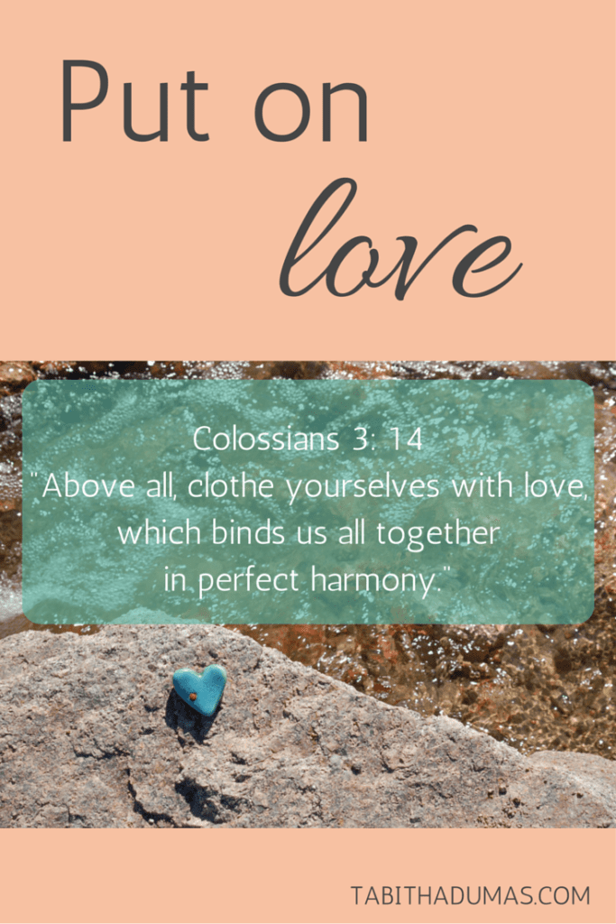 Put on love. Colossians 3-14 -Above all, clothe yourselves with love, which binds us all together in perfect harmony.- tabithadumas.com