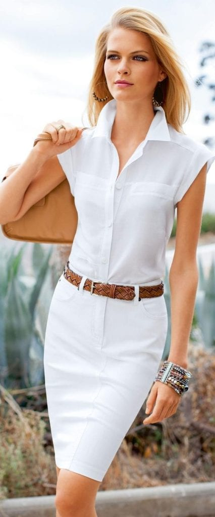 Summer office style! Try an all white outfit, just add some texture. tabithadumas.com