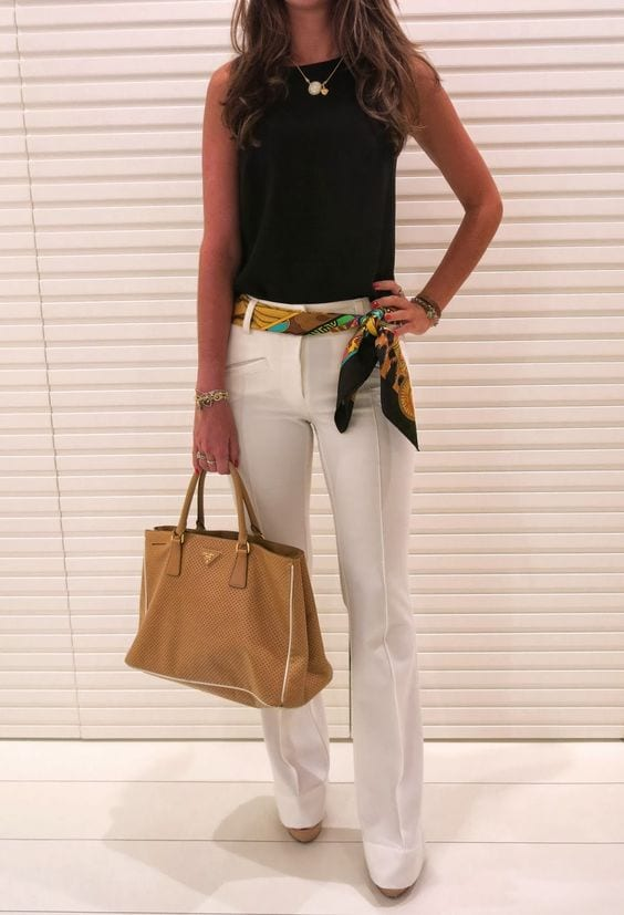 Wear a scarf as a belt + 10 ways to wear a scarf this summer from tabithadumas.com