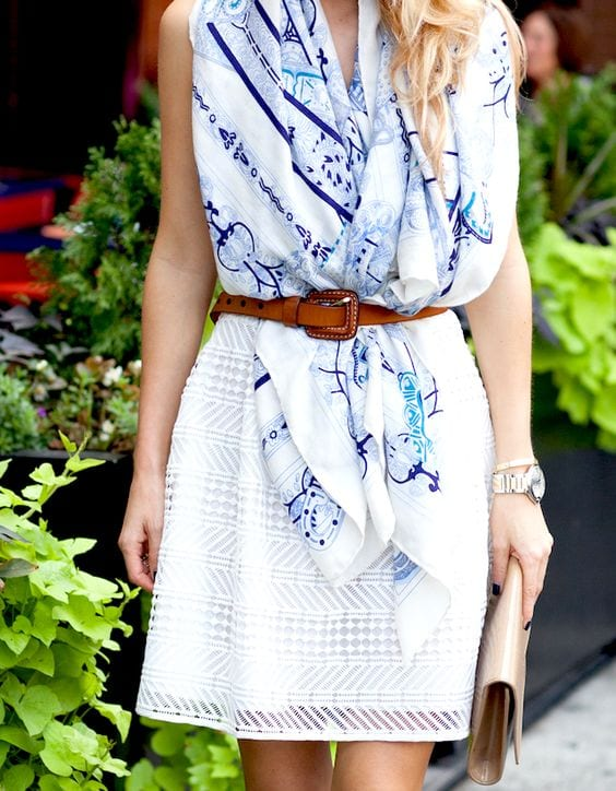 10 ways to wear a scarf this summer from tabithadumas.com Tie it as a vest!