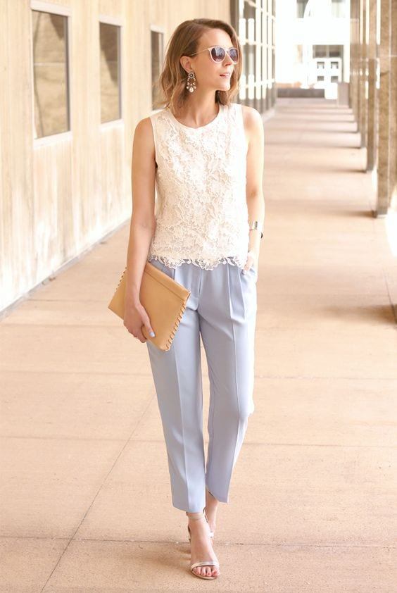 Summer office style--wear lighter fabrics like linen and cambray. tabithadumas.com image consultant