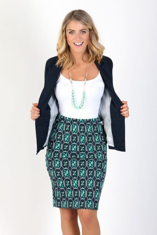 Summer office style--try a patterned pencil skirt with a blazer. tabithadumas.com image consultant