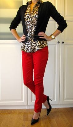Animal print with red How to wear leopard print for your Dominant Color Category by tabithadumas.com
