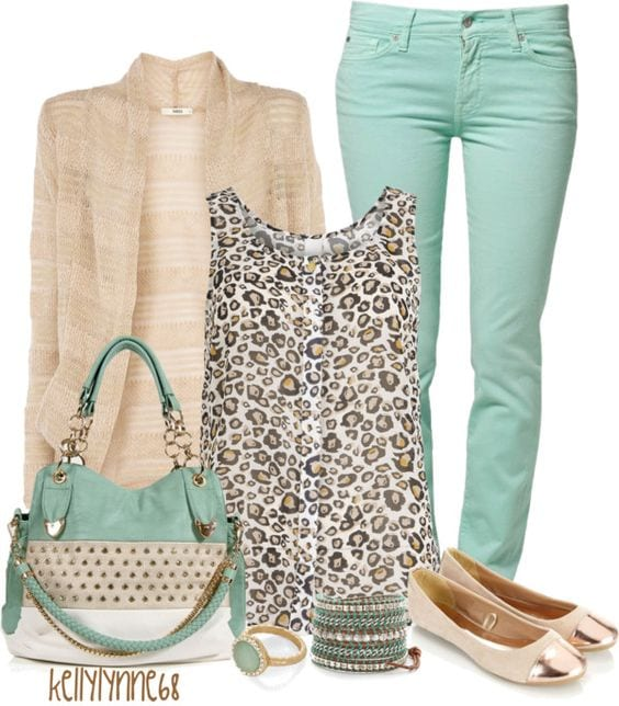 Mint green with animal print How to wear leopard print for your Dominant Color Category by tabithadumas.com