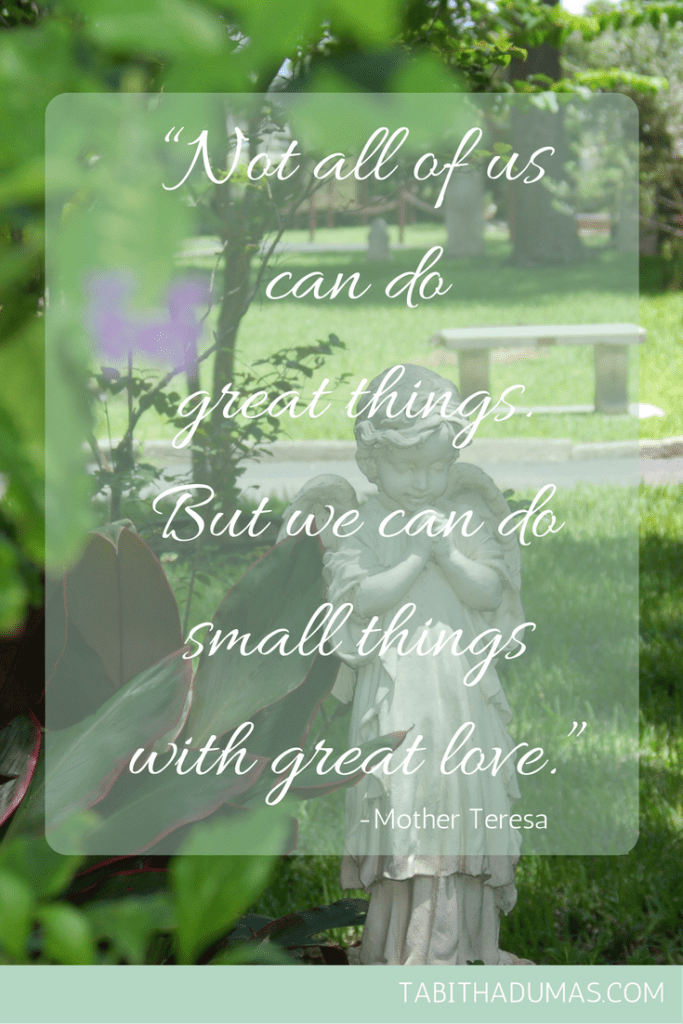 """Not all of us can do great things. But we can do small things with great love."" -Mother Teresa. When you want to solve all the world's problems by Tabithadumas.com"