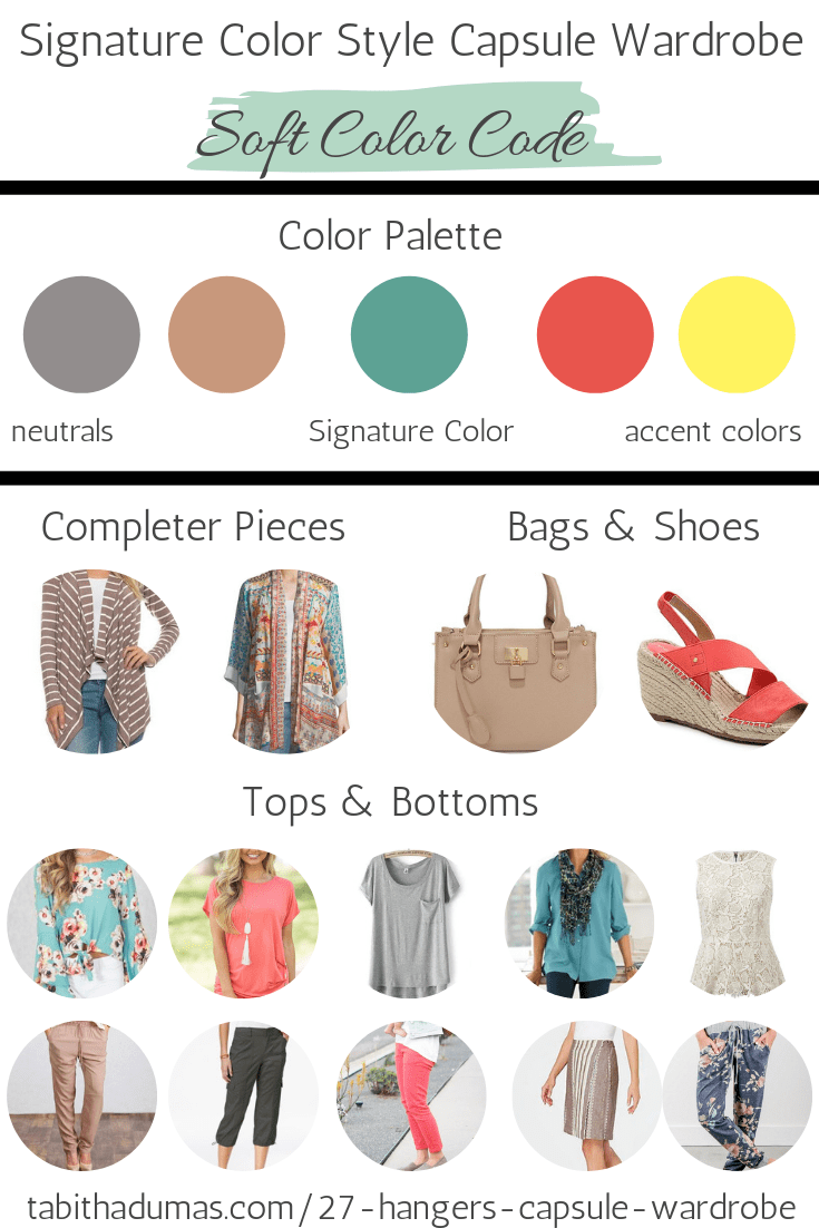 Signature Color Style Capsule Wardrobe SOFT color palette Tabitha Dumas Phoenix Image Consultant turquoise, coral, yellow, gray, beige