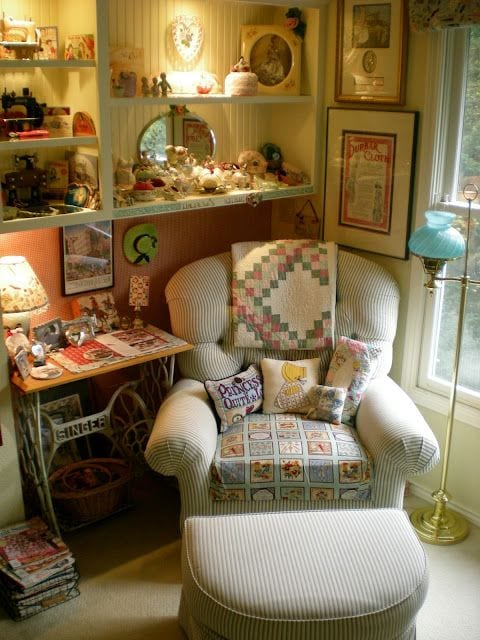 Create a reading nook! Consider where you want it. Maybe near a fireplace! -tabithadumas.com