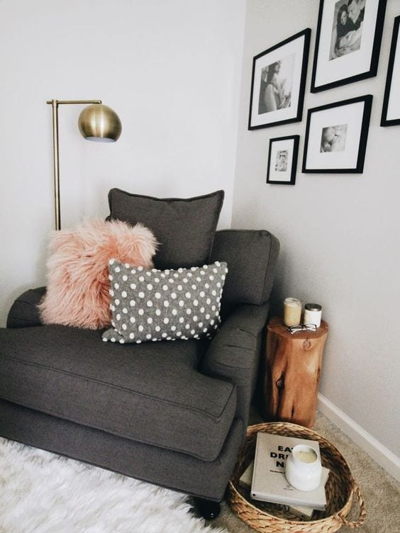 Create a reading nook somewhere you already hang out. -tabithadumas.com