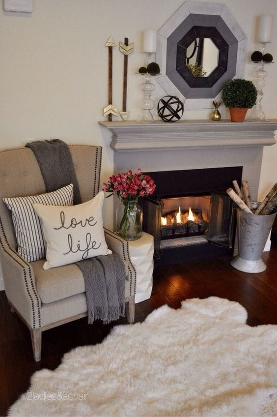 Your space. Creating a reading nook. Fall cozy fireplace. tabitha dumas