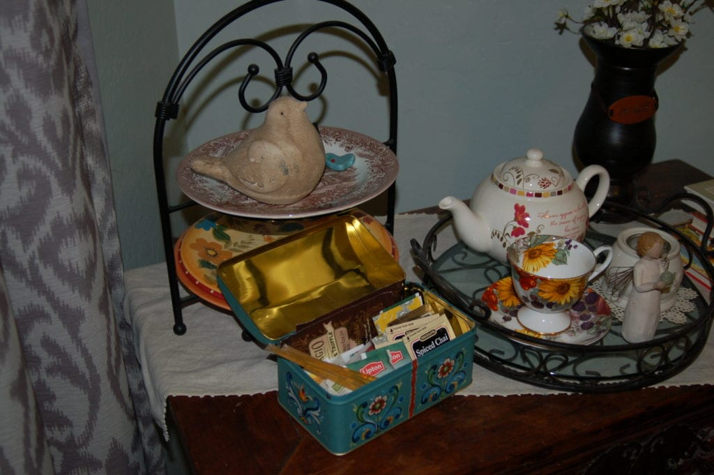 Create a coffee tea station! Have a variety of tea bags handy because you use what you can see. -Tabithadumas.com