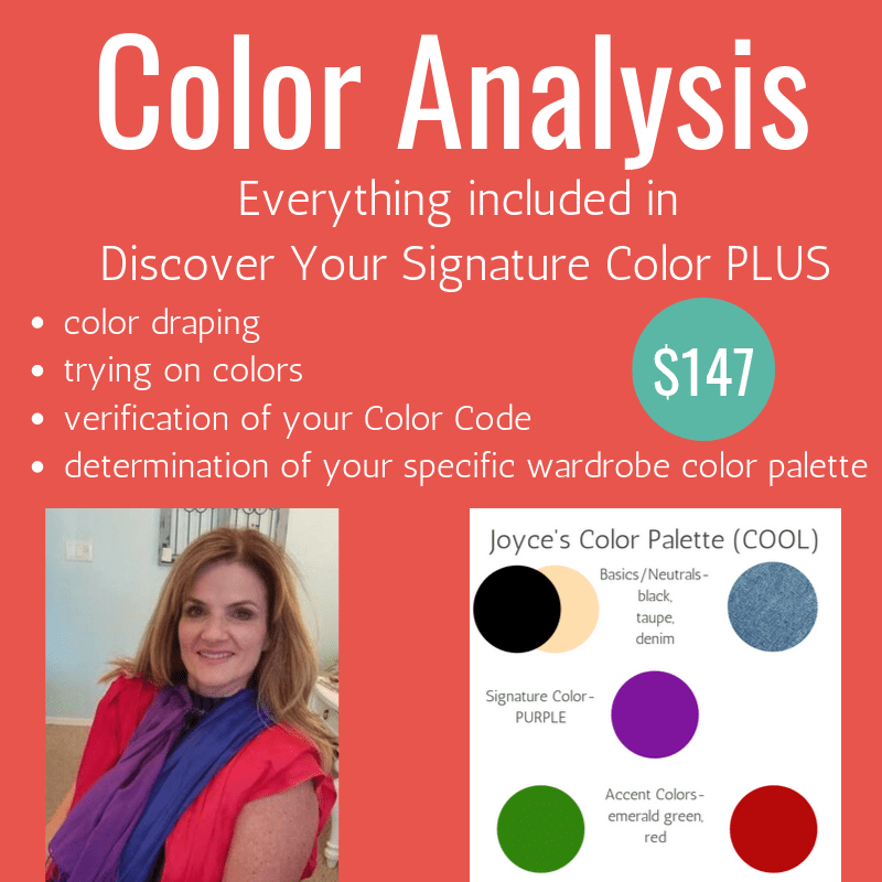 Phoenix Color Analysis offered by Tabitha Dumas Phoenix Image Consultant and includes everything with Signature Color plus color draping and more!