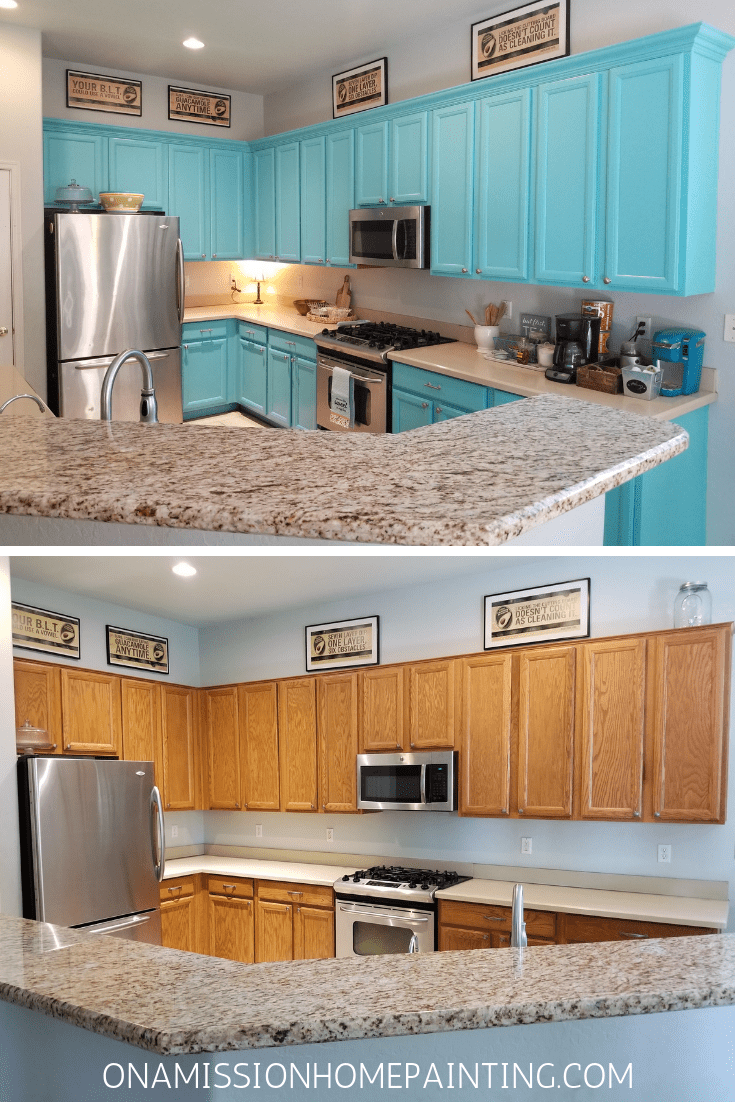 Kitchen Cabinets Before And After Turquoise Kitchen Cabinets Bright And Cheerful Kitchen From Tabitha Dumas The Color Picker Tabitha Dumas
