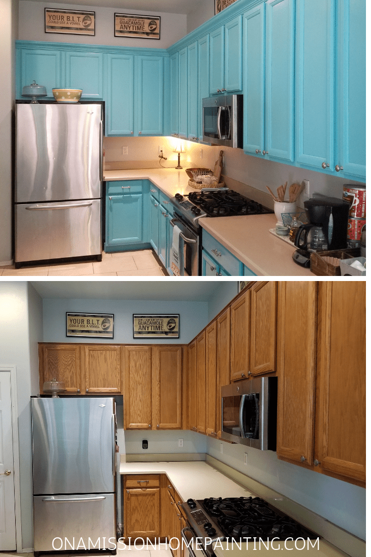 Kitchen cabinets before and after turquoise kitchen cabinets, bright and cheerful kitchen from Tabitha Dumas The Color Picker