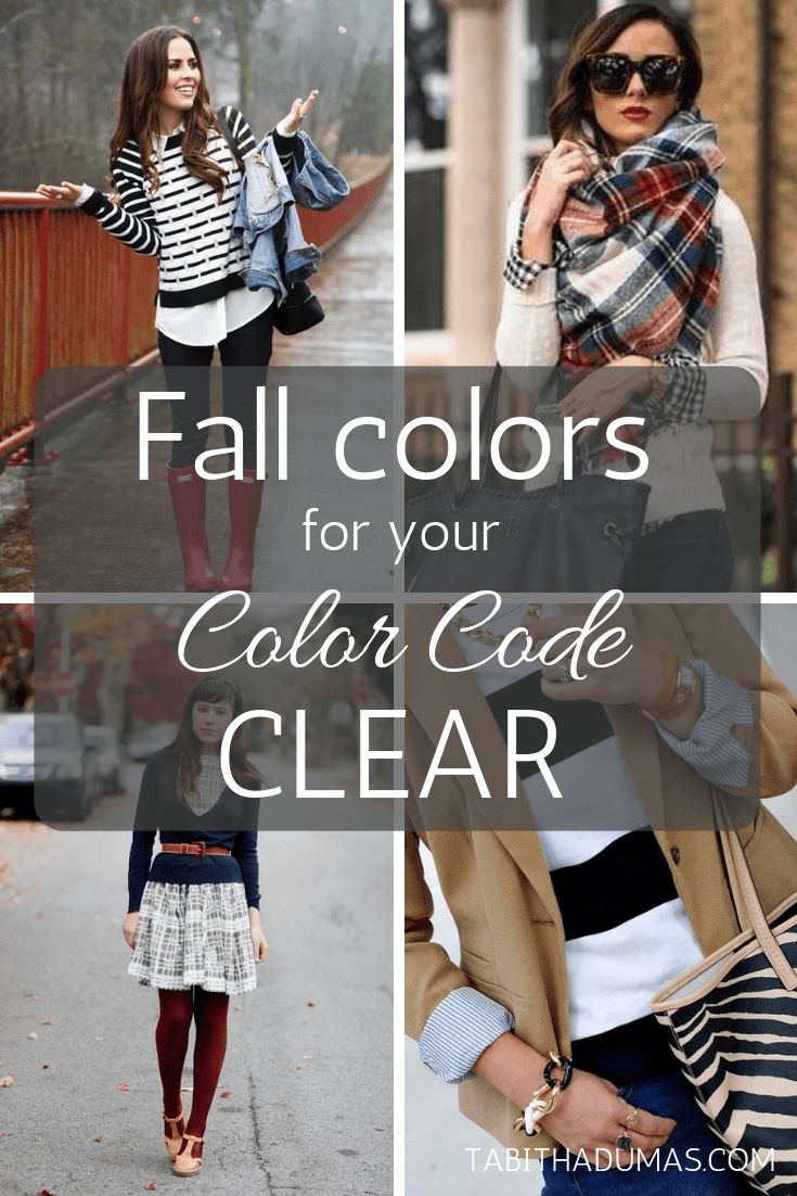 Fall colors for your color code--CLEAR color code from tabithadumas.com Phoenix image consultant phoenix color analysis