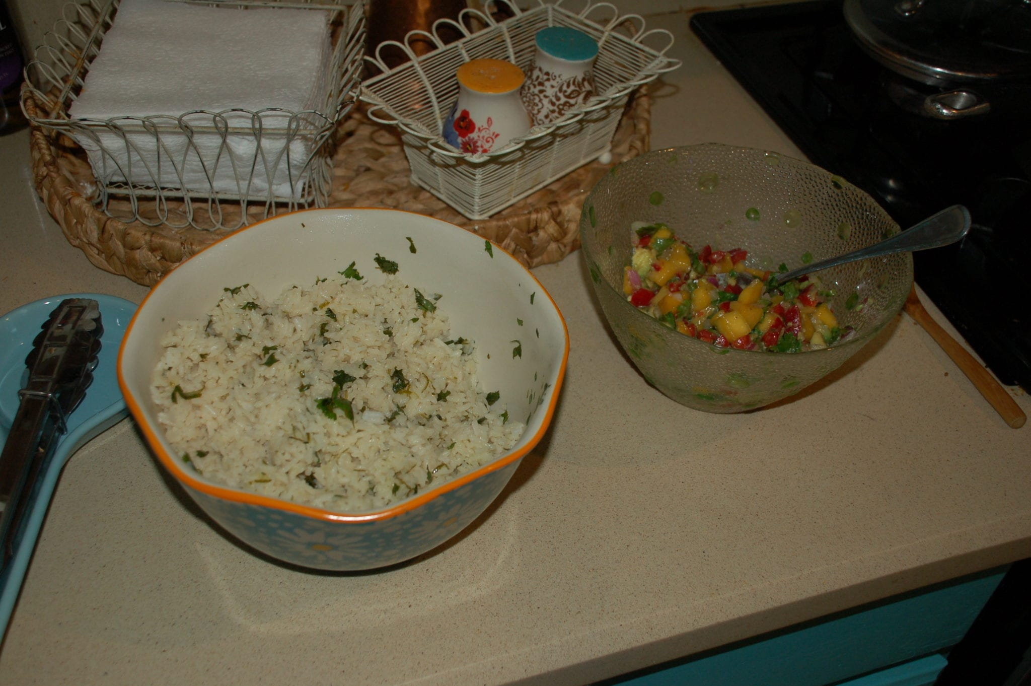 Hosting a girls' night dinner and pampering. Cilantro lime rice and mango lime salsa. Tabitha Dumas