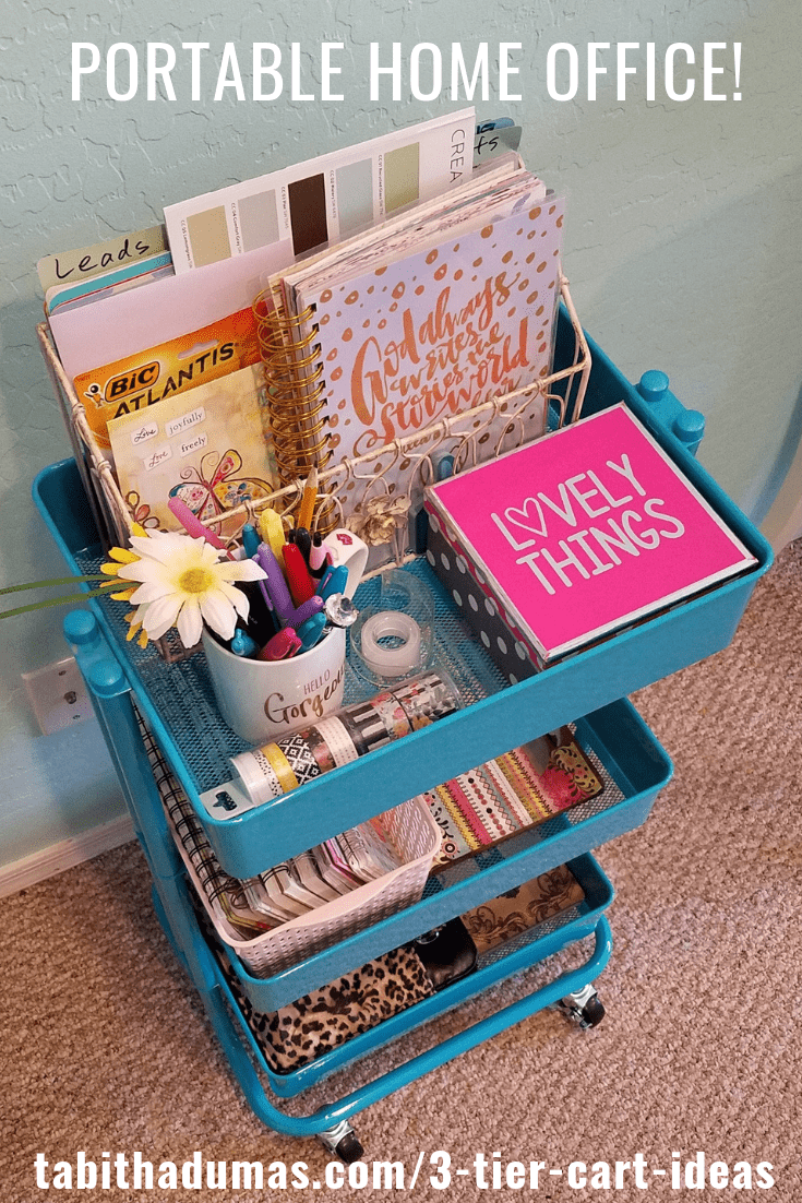 11 3-tier cart ideas to keep you organized. Use your cart for a home office! by Tabitha Dumas