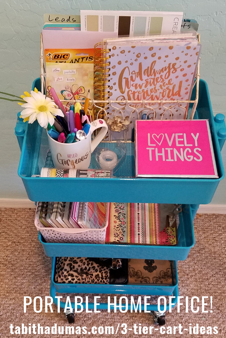 Do you work from home? 11 3-tier cart ideas to keep you organized. Use your cart for a home office! by Tabitha Dumas