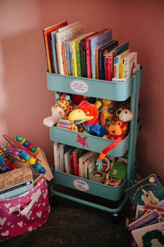 3-tier cart ideas nursery book nook kids room organization