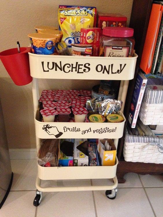 3-tier cart ideas school lunch supplies