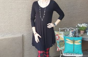 Christmas outfit from Amazon plaid leggings and black dress Tabitha Dumas Phoenix image consultant