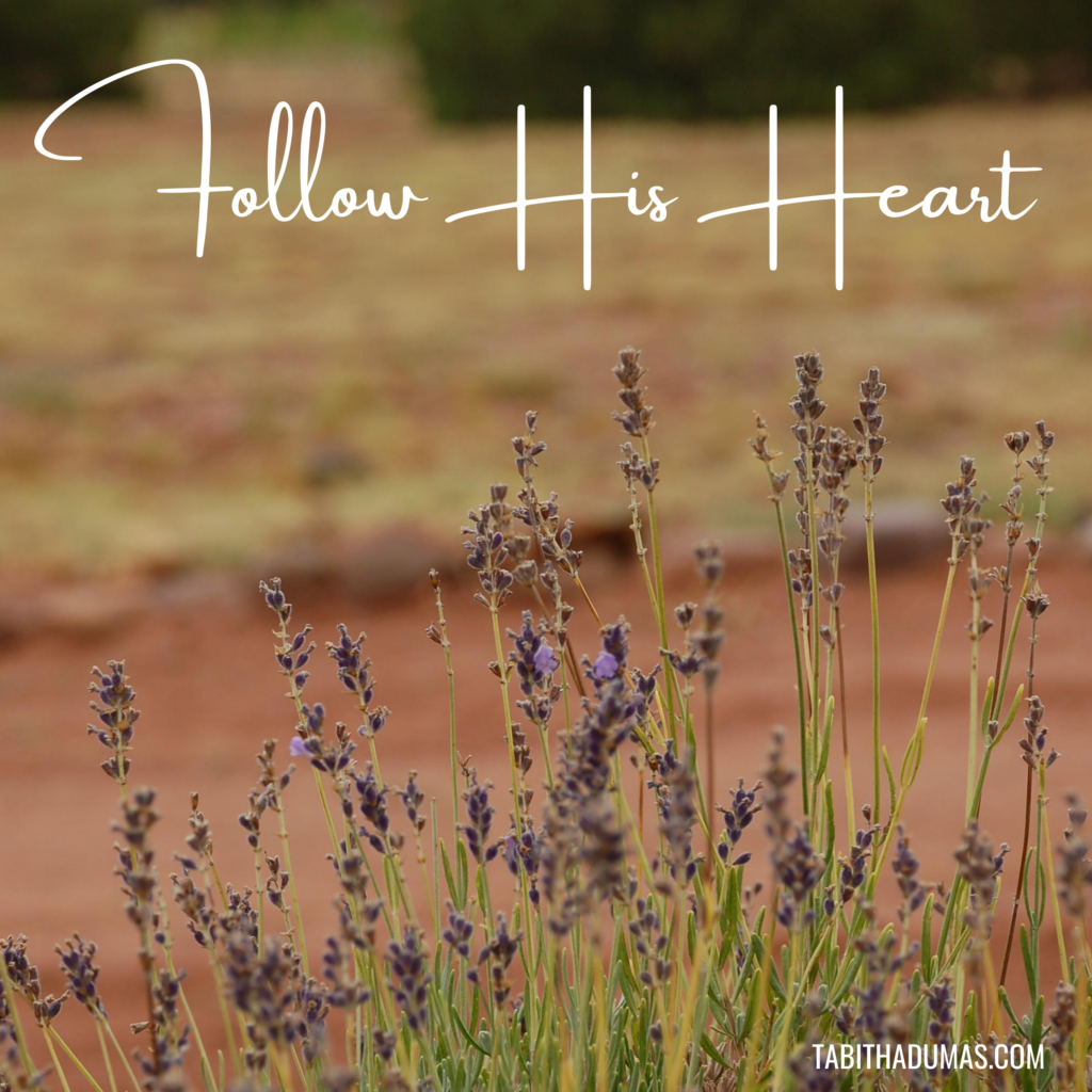 Follow your heart is bad advice. Follow His heart and you'll always be headed in the right direction. Tabitha Dumas