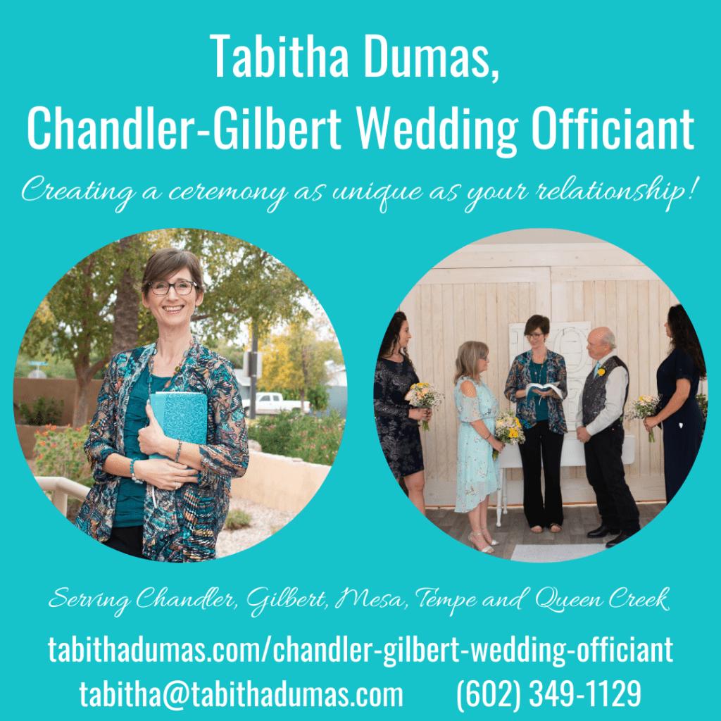 Tabitha Dumas, Chandler Gilbert Wedding Officiant