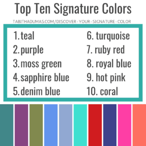 Signature Color jewelry, top ten most popular signature colors from Tabitha Dumas Phoenix Color Analysis