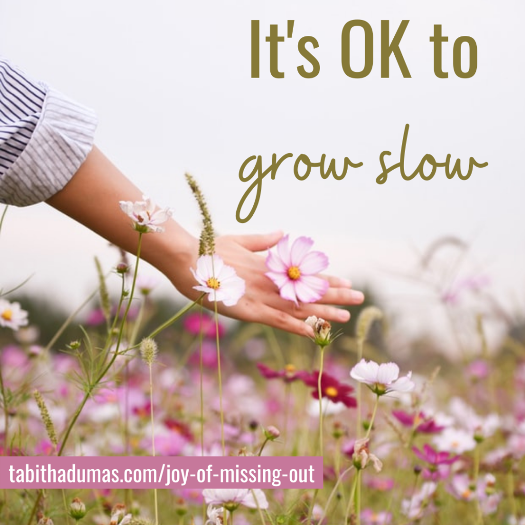 it's ok to grow slow! The joy of missing out by tabitha dumas